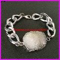 1PCS Mental Chunck Big Hole Link Chain Bracelets with White Color Crystal Druzy Quartz Connector Bracelets for Female