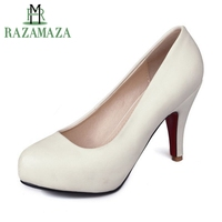 RAZAMAZA Size 34 43 Office Lady High Heel Shoes Women Round Toe Inside Platform S Heels Pumps Sexy Party Club Women Footwear