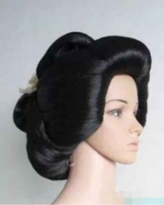 Jewelry Wig Hot sell Black Geisha Wig Full Wigs Plate Hair Anime women's Cosplay Wig Free Shipping