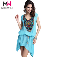 Fashion Women Embroidered Top Sleeveless Summer Blouse Plus Size Shirt 2 Ways To Wear