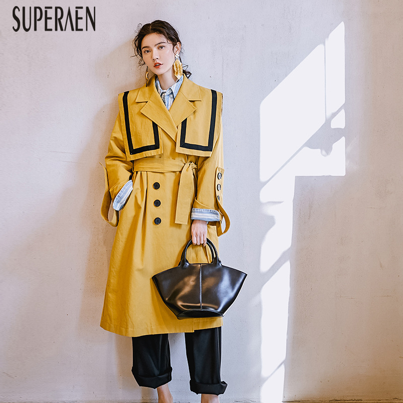 SuperAen Windbreaker Women New 2019 Spring and Summer Long Sleeve   Trench   Coat for Women Cotton Casual Women Clothing