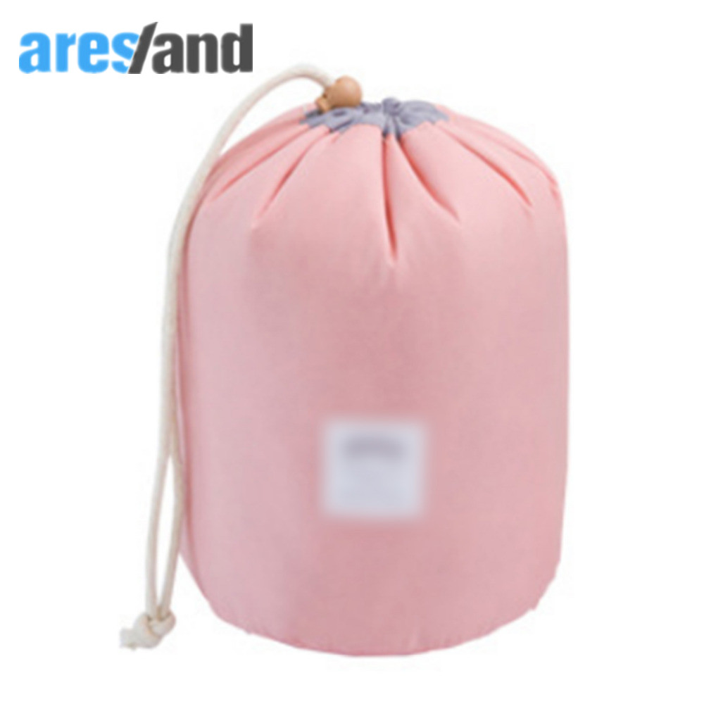 Korean Style Portable Travel Women Cosmetic Organizer Cylinder Drawstring Bag Makeup Wash Bag Toiletry Bags Travel Accessories