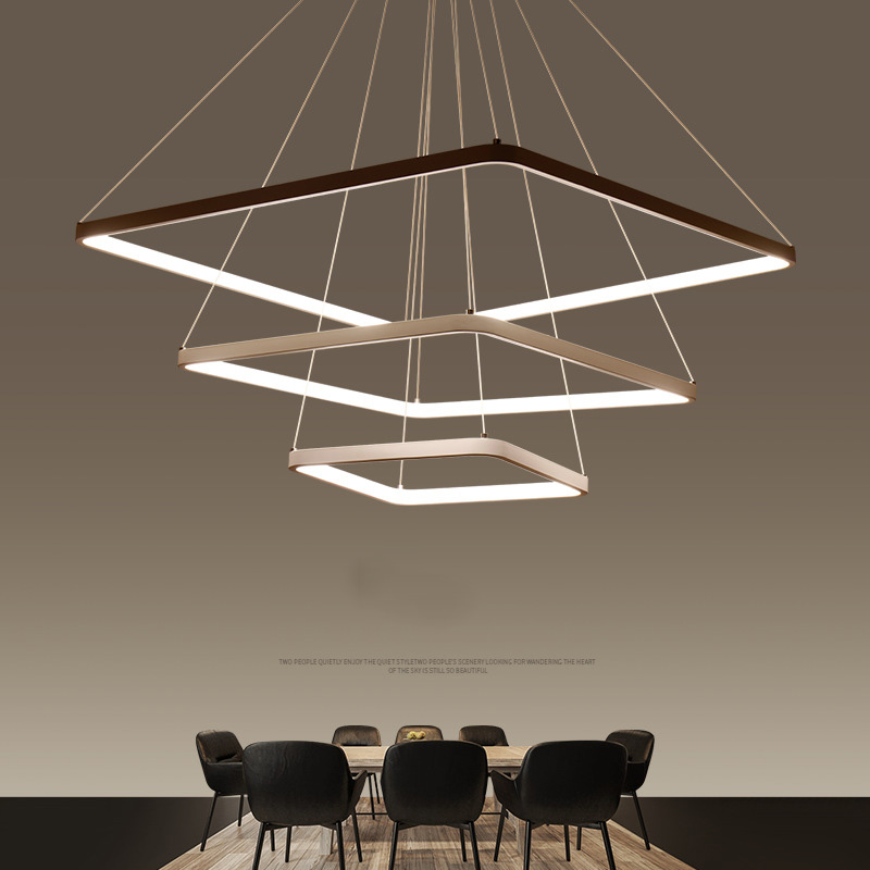Modern LED Pendant Light 3 Rings Square Pendant Lamp Suspension Lighting Fixture For Living Room Bedroom Dining Room small pendant light fixture lustres hanging suspension bedroom lamp aluminum pendant lighting lamp for living room dining room