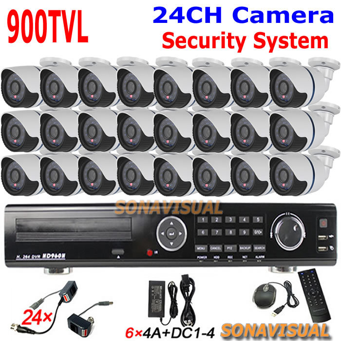 CCTV System 24 Channel D1 H.264 DVR Recorder + 24Pcs 900tvl Security Cameras Outdoor Waterproof 24CH Alarm Systems Security Home