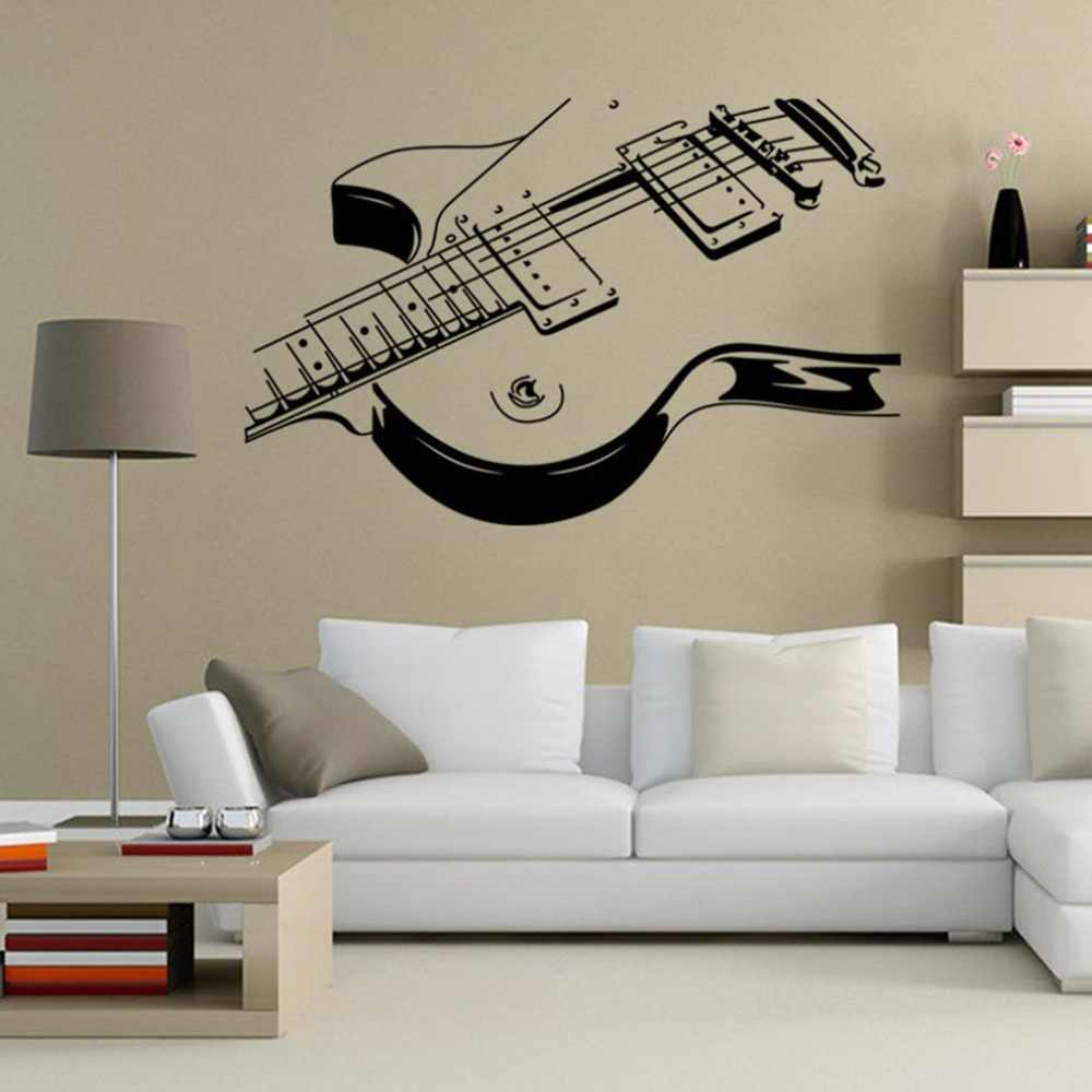 Removable PVC Music Instrument Guitar Wall Sticker Home Decoration Living Room Bedroom Wall Decals Mural Black Home Decor
