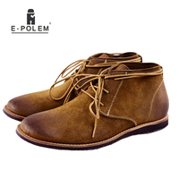 2017 Spring Autumn Fashion Mens Brown Black Lace Up Ankle Martin Boots Shoes Fashion Plush Suede Leather Leisure Men Flats Boots