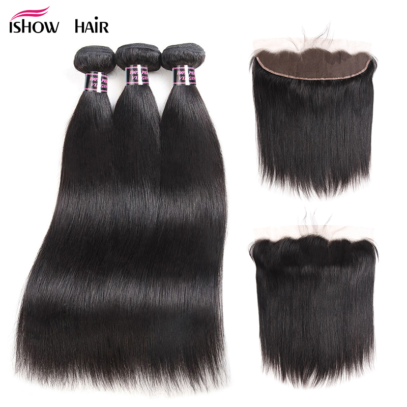 Ishow Straight Hair Bundles With Frontal Closure Human Hair Bundles With Closure Non Remy Peruvian Hair