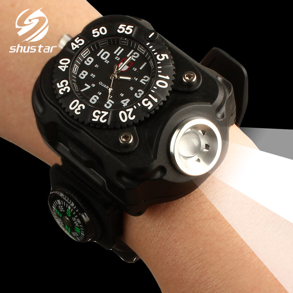 Rechargeable Led Flashlight Wrist Light 5 Light Mode Led Lamp Compass Watch Multifunctional Waterproof Outdoor Sports Light