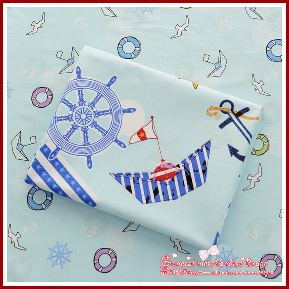 Direct selling ! 2 Pieces/lot 50*160cm Assorted cotton Lovely sewing Fabric Sailboat Series home textile Quilting Tilda Cloth