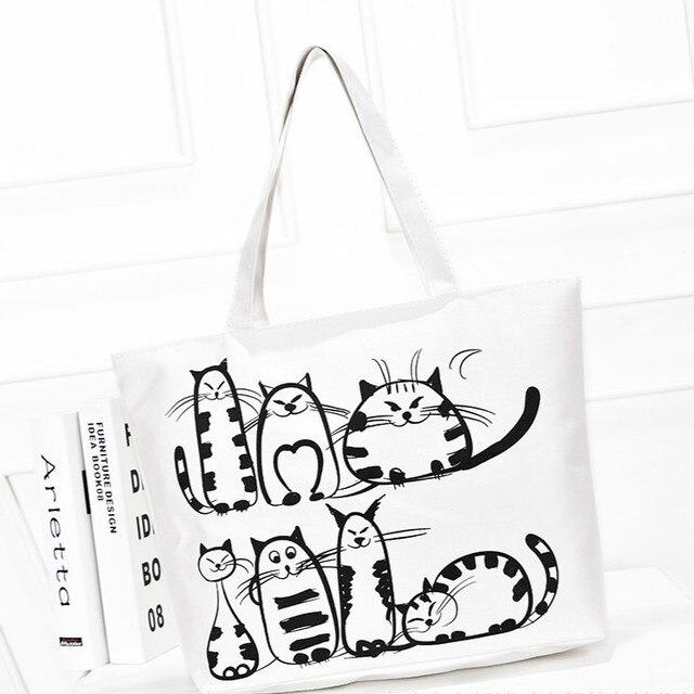 Women Canvas Handbag Cartoon Cat Printed Shoulder Bag Female Large Capacity  Ladies Beach Bag Women Canvas a2afbcacf3c95
