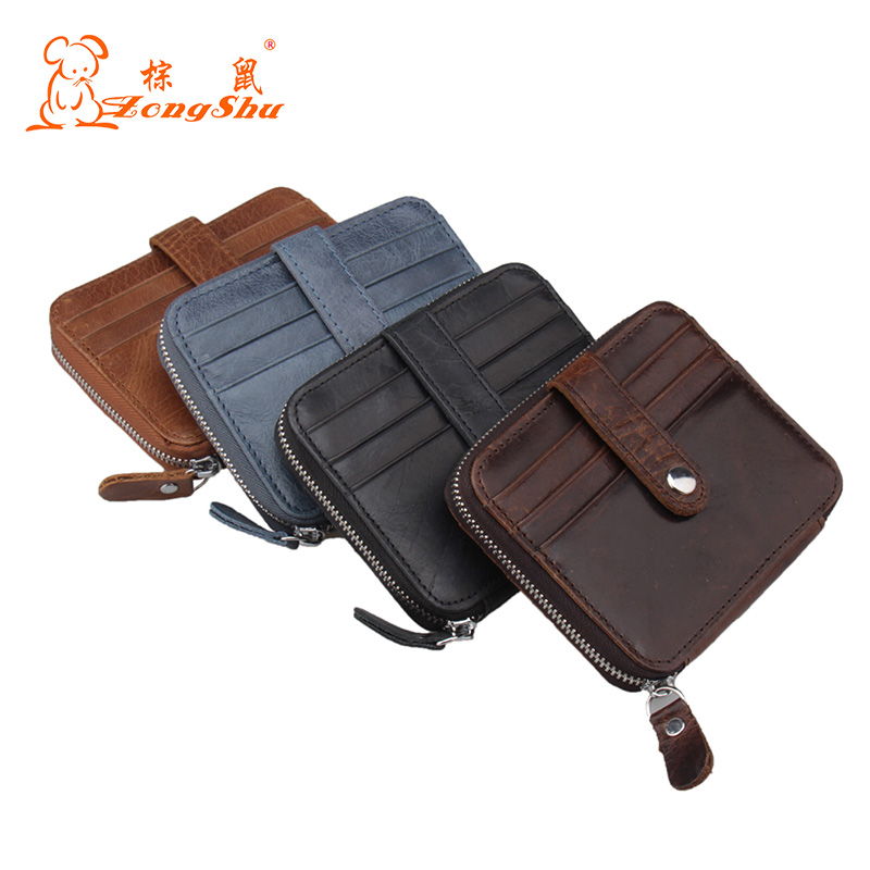 Vintage Genuine Leather Business multi Card Holder Women And Men Travel Hasp Wallet For Credit Cards Holder (customize available