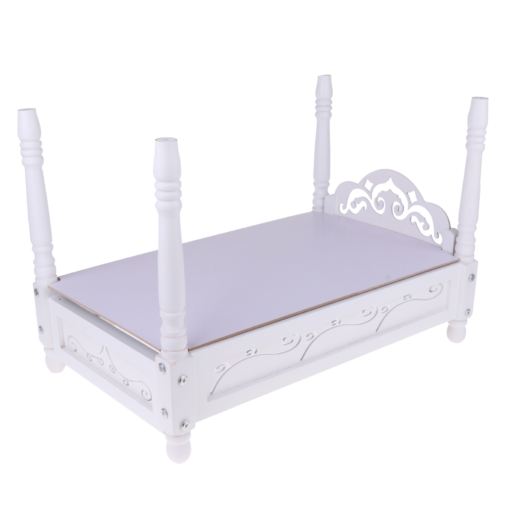 European Style 1 6 White Wooden Bed Furniture Model For Hot Toys