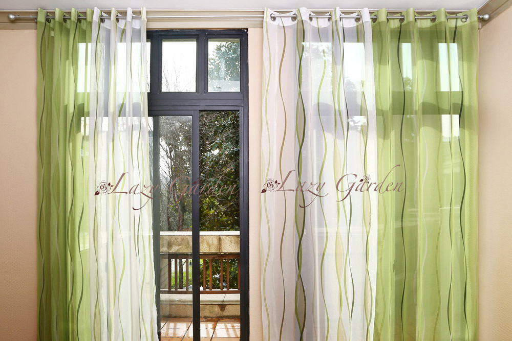 Free Shipping European Style Eyelet Voile Window Curtains Set 4 Pieces For Living Room Green White 140x245cm In From Home Garden On