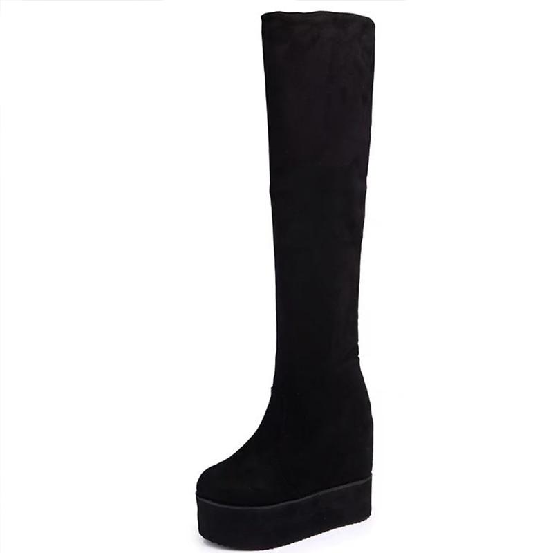 Women Winter Over The Knee High Boots Suede Wedge 10.5 High Heels Platform Shoes
