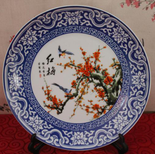 Exquisite Chinese Handwork Classical Blue and White Porcelain Plate,Painted with Red Plum Birds