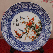 Exquisite Chinese Handwork Classical Blue and White Porcelain Plate,Painted with Red Plum and Birds  стоимость