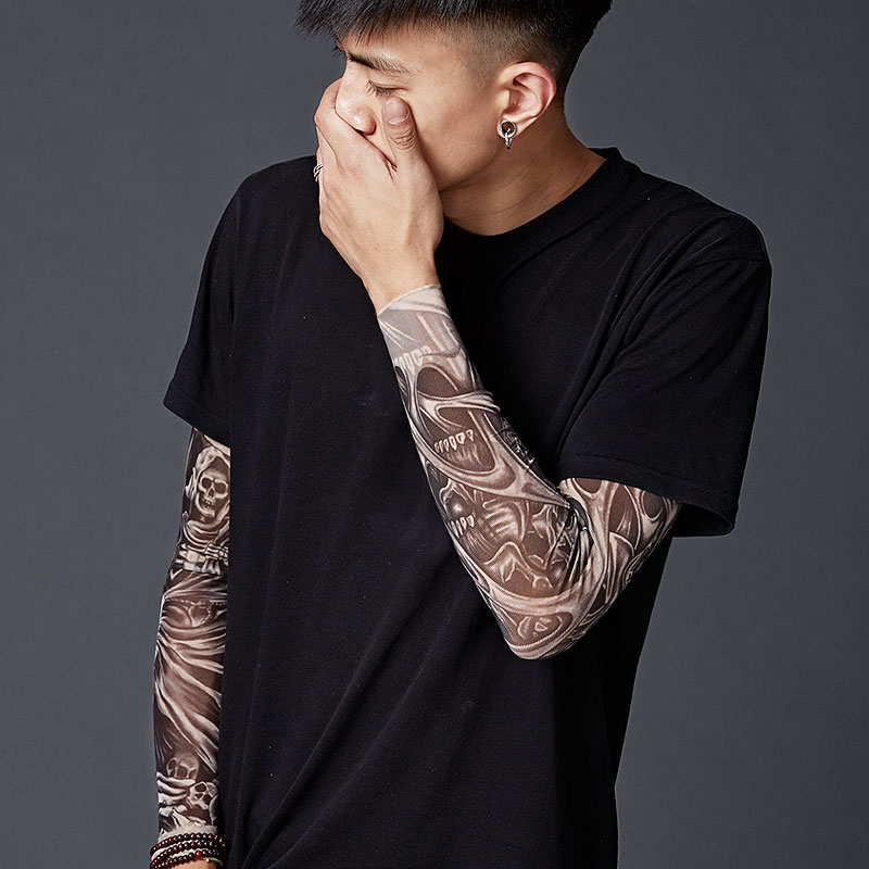 Hot Sale 1Pcs Tattoo Sleeves Outdoor Sports Cycling Seamless Sleeve Unisex Skin UV Protection Stretchy Male Cool Arm Warmer