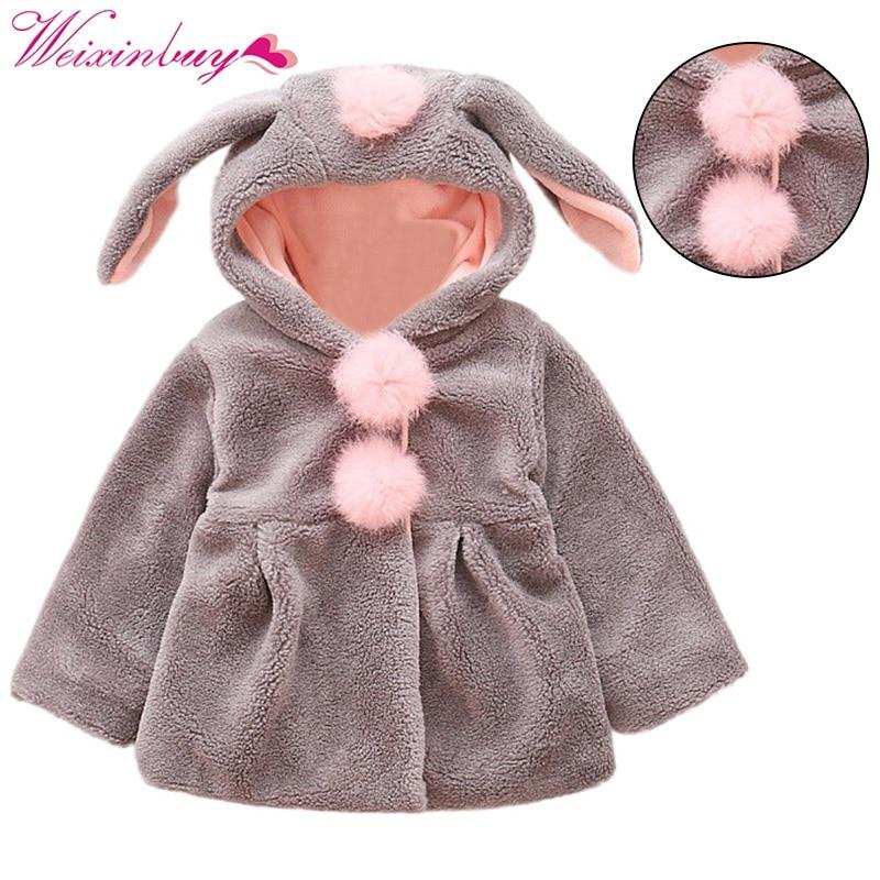 Милые Одежда для малышей Одежда для мальчиков и девочек с длинными рукавами с капюшоном с милыми ушками пальто куртка Верхняя одежда Топы к...