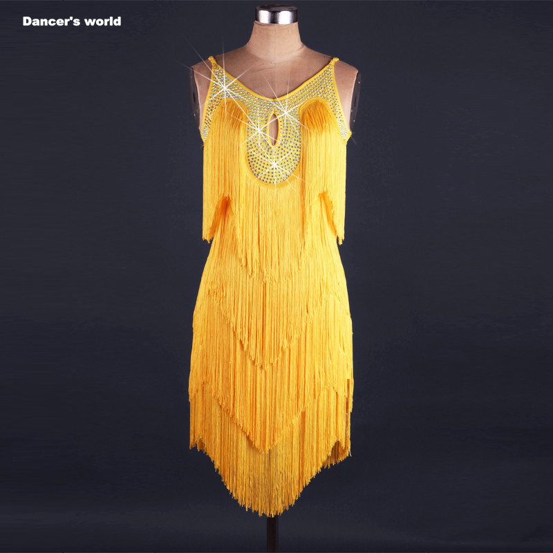 Sexy tassel dress latin dance clothes for women latin dance tassel sleeveless dress girls latin dance dress Cha cha dance dress-in Latin from Novelty & Special Use    1