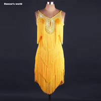Sexy tassel dress latin dance clothes for women latin dance tassel sleeveless dress girls latin dance dress Cha cha dance dress