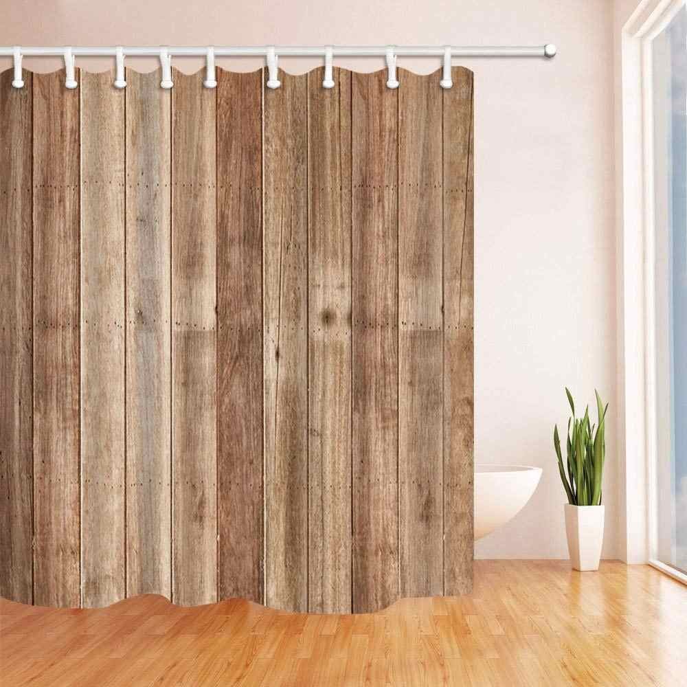 Brown Old Hardwood Wooden Floor Shower Curtain Mildew Resistant
