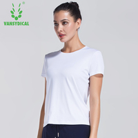 Vansydical White Women Sports T-shirt Short Sleeve Breathable Yoga Clothes Round Neck Fitness Running Shirt