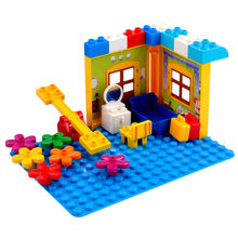 Duploe Large Building Block Slide Umbrella DIY Classic Piece Big size set Toy accessories compatible legoe Happy Grange Suitcase(China)