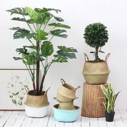 Главная хранения украшения из ротанга морских водорослей Willow складной висит Прачечная корзина для хранения корзины, кашпо Вязание грязный