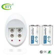 9 V зарядное устройство интеллектуальная светодиодная индикация для 9 V(6F22) аккумуляторные батареи+ 2 шт 500 mAh 9 V литий-ионный аккумулятор