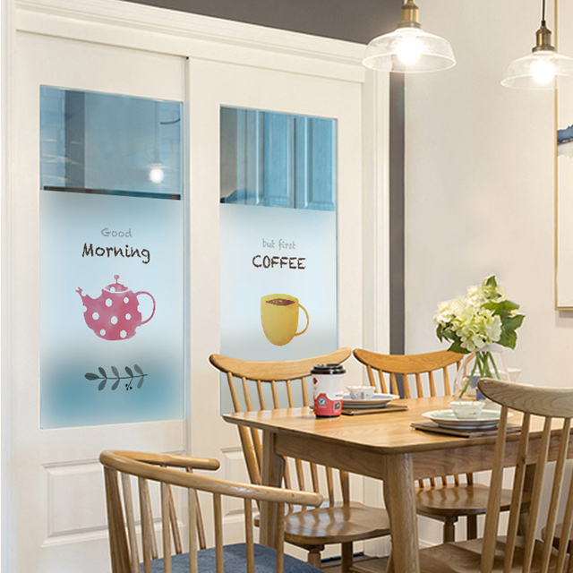 Coffee Cup Frosted Static Gl Film Bakery Restaurant Door Parion Decor Kitchen Home Window Sticker