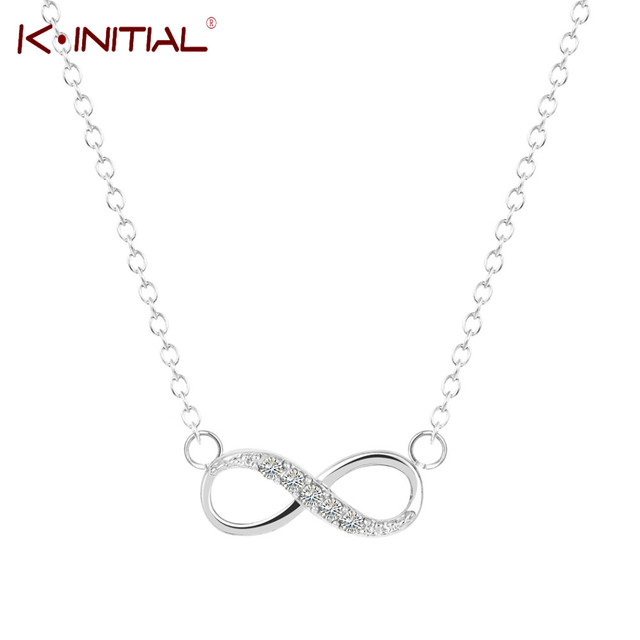 Kinitial 1pcs Gold Silver Plated Tiny Infinity Pendant Necklace With