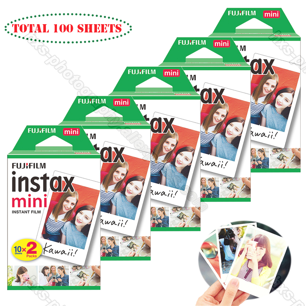 100 White Sheets Fujifilm Fuji Instax Mini 9 Film For Mini 8 9 7s 50s 70 90 25 50i Instax Instant Camera Share SP-1 SP-2 printer new 5 colors fujifilm instax mini 9 instant camera 100 photos fuji instant mini 8 film