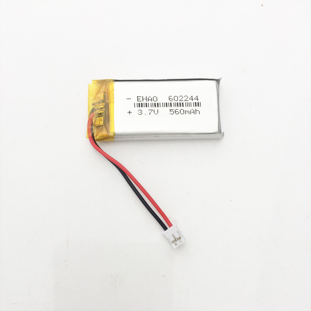 500pcs 3.7V lithium polymer lipo rechargerable battery 602244 560mAh JST 2pin 2.0mm connector500pcs 3.7V lithium polymer lipo rechargerable battery 602244 560mAh JST 2pin 2.0mm connector