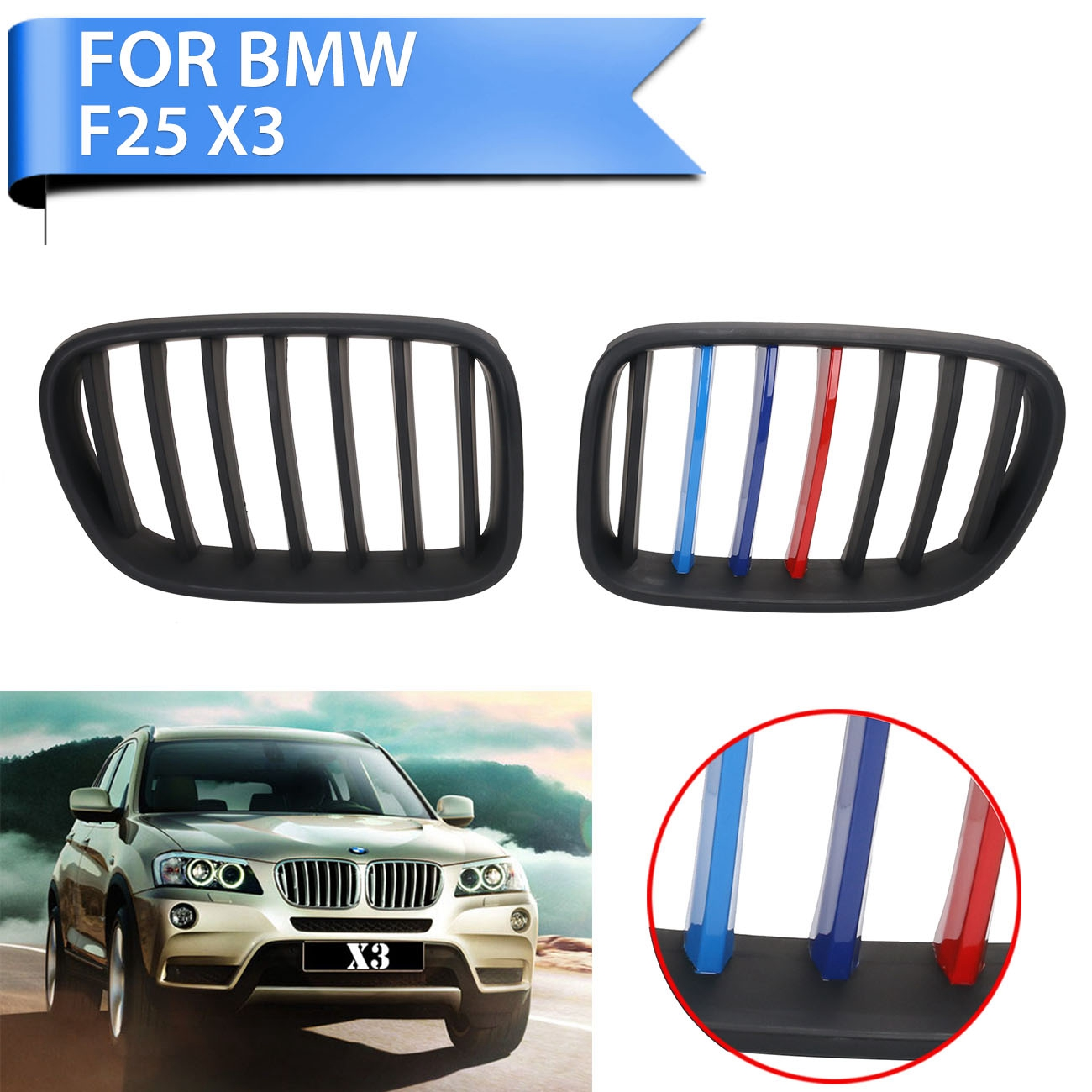 New Matte Black M-color Front Grilles Kidney Grill For BMW F25 X3 SUV xDrive 28i 35i 2011 2012 2013 Car-Styling #P345 car grills e39 gloss black m color front kidney grilles double line grills for bmw e39 m5 1997 2003 c 5
