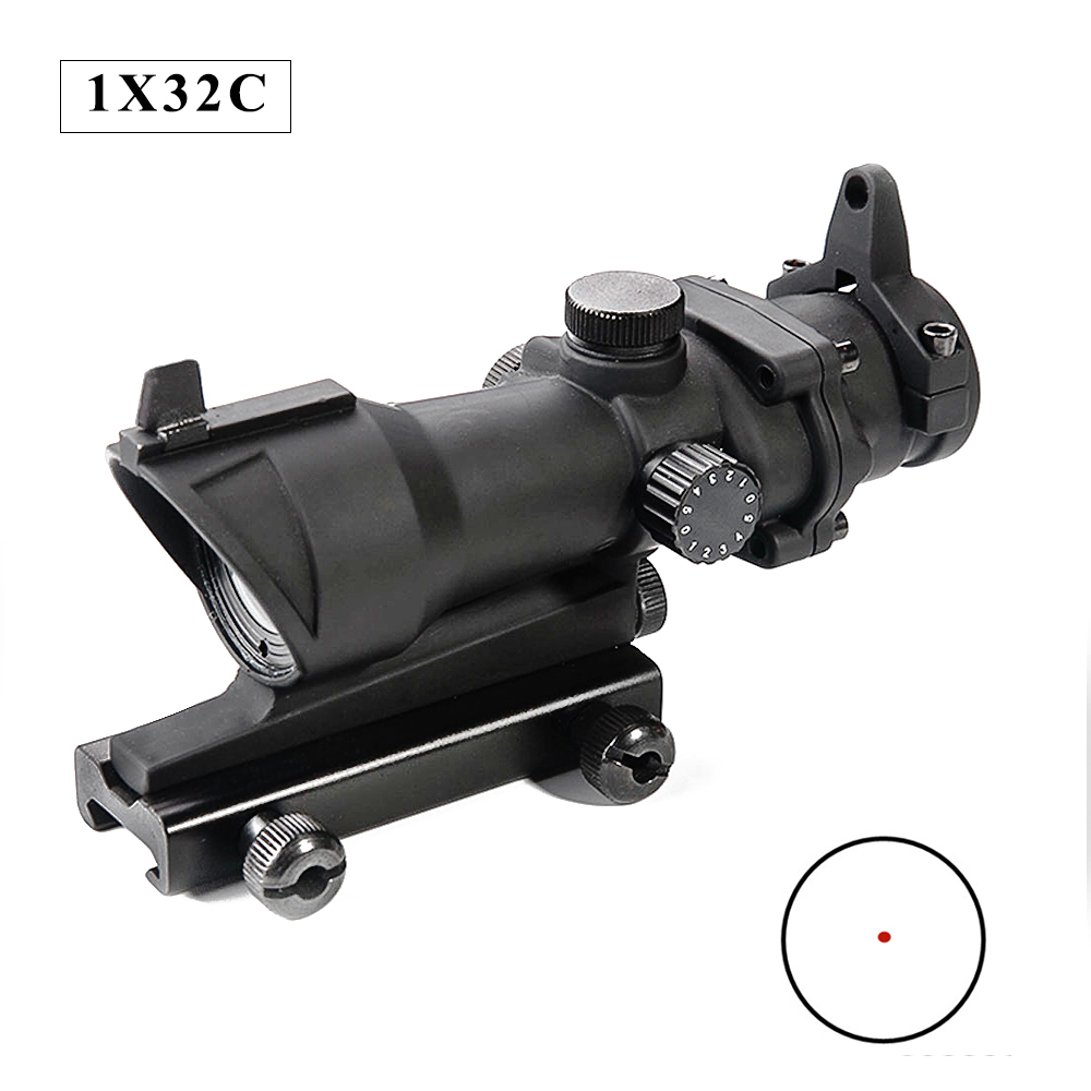 ACOG 1X32 Red Dot Sight Scope Tactical Quick Release Illumination Adjust Hunting Rifle Scopes Airsoft Collimator Optical Sight