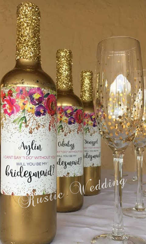 Will You Be My Bridesmaid Wine Labels Thank You Wine Bottle Labels Bridesmaid Proposal Custom Wine Labels Bridesmaid Gift Wine Labels