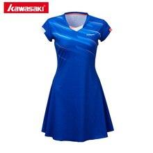 كاواساكي سريعة الجافة تنس فساتين مع السراويل مرونة عالية 100% البوليستر الرياضة فستان تنس الملابس للنساء فتاة SK T2701