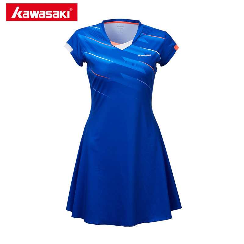 Kawasaki Quick Dry Tennis Dresses with Shorts High Elastic 100% Polyester Sports Dress Tennis Clothes For Women Girl SK-T2701 new children s tennis badminton dress girls breathable quick drying summer tennis suit sports dress with short pants