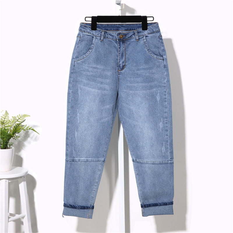 Classic Women Plus Size 5XL Casual Boyfriend   Jeans   Harem Pants Vintage High Waist   Jeans   Loose Light Blue Mom   Jeans   Femme Q367