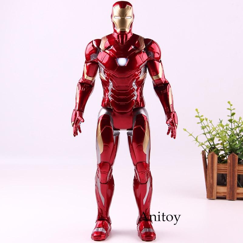 все цены на Captain American Civil War Figurine Iron Man Ironman Lighting PVC Marvel Action Figures Collection Model Toys for Boys онлайн