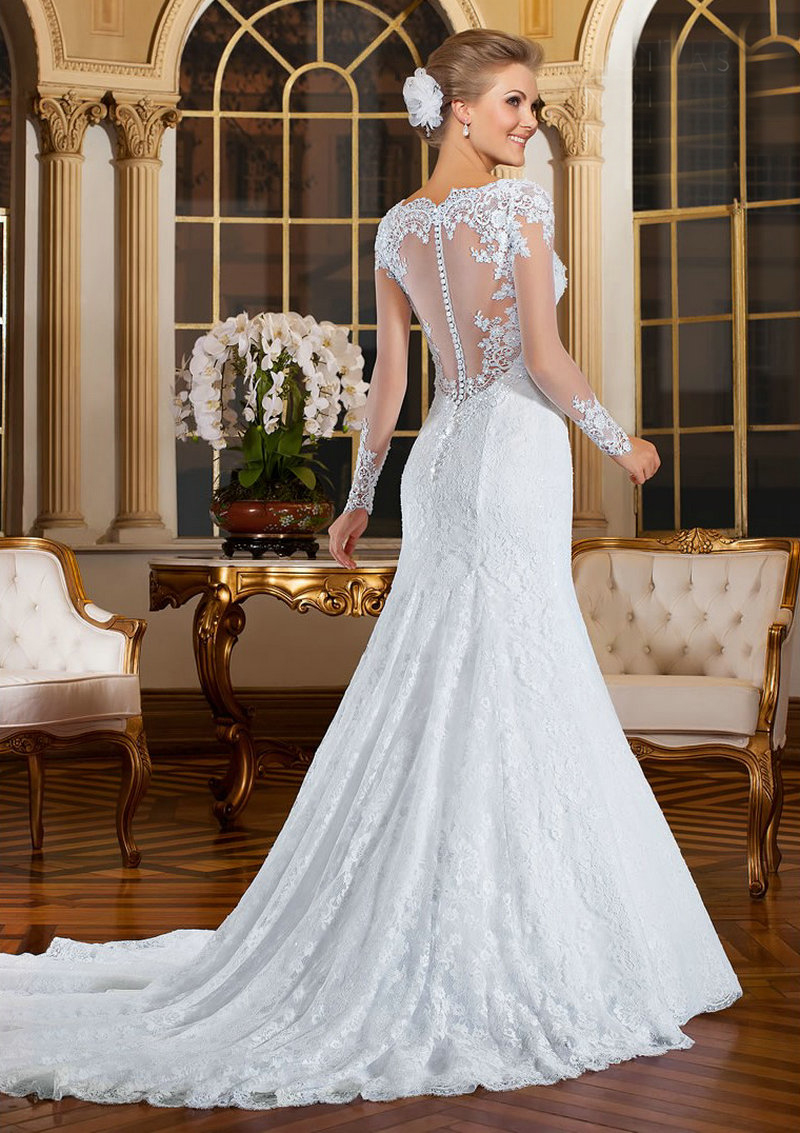 Sexy Long Sleeve Wedding Dresses Mermaid Appliqued V Neckline ...