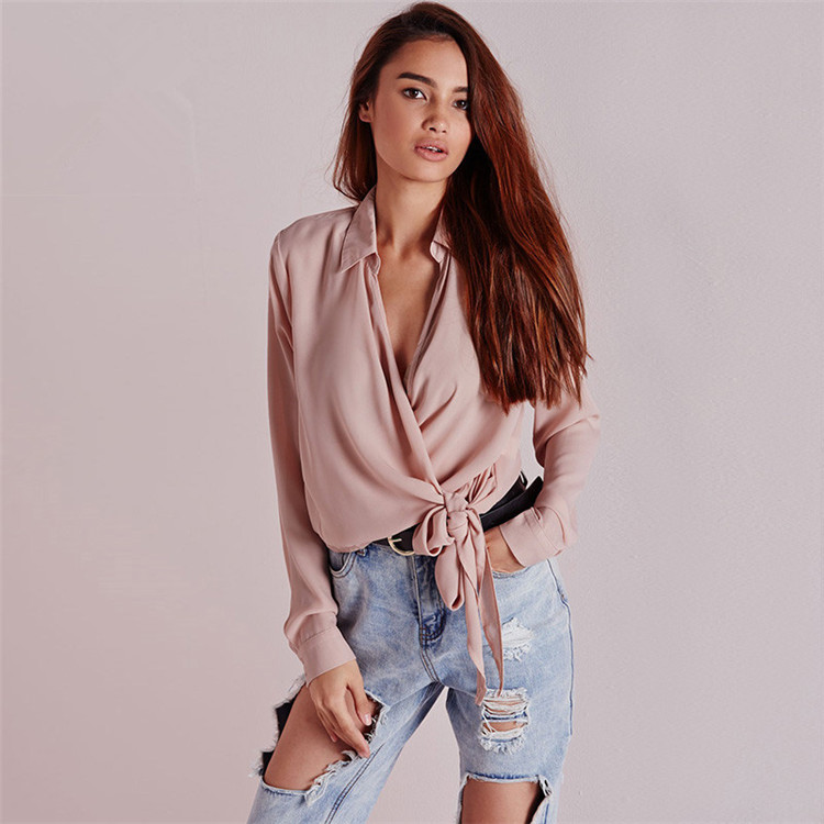 Europe and the United States foreign trade new <font><b>nude</b></font> <font><b>pink</b></font> collar <font><b>shirt</b></font> Female breast cross bands sexy long-sleeved <font><b>shirt</b></font>