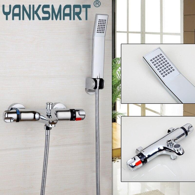 YANKSMART robinets thermostatiques de salle de bains fixés au mur Chrome poli mélangeur d'eau chaude et froide ensemble de douche ensemble de robinets de baignoire de pluie
