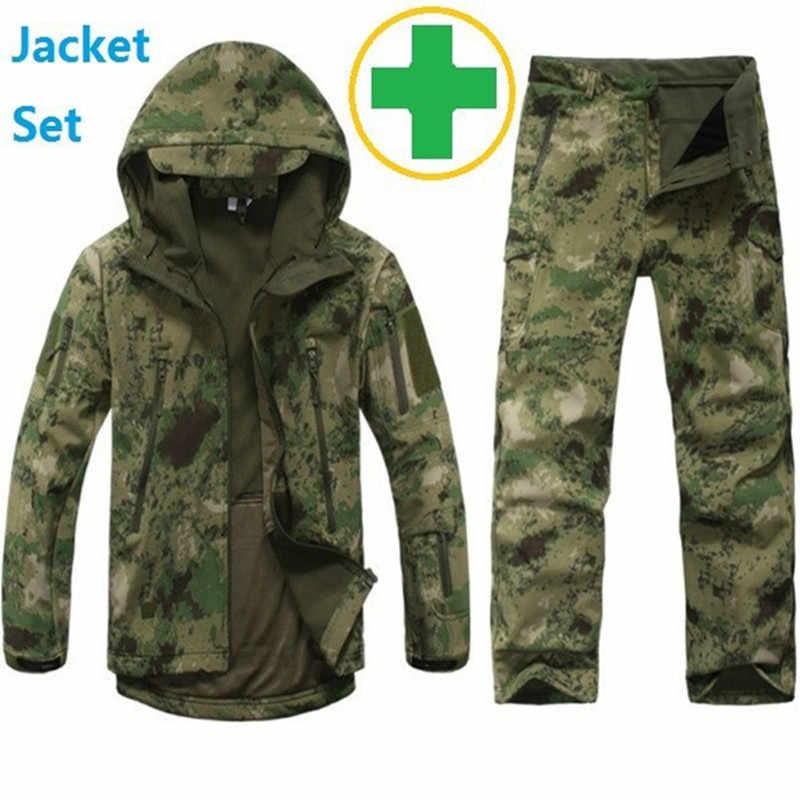 新しいサメ肌屋外狩猟キャンプ防水防風ポリエステルコートジャケットパーカーtadソフトシェルジャケット+パンツ