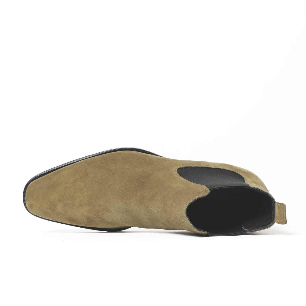 VIKEDUO 2019 Classic Chelsea Boots Men Handmade Suede Ankle Boots Male Bespoke Autumn Square Toe Men's Shoe Wedding Office Botas