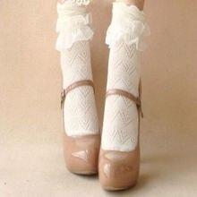1 par 2016 Estilo Retro Lace Ruffle Folhos Ankle Boots Curto Meias de Algodão Princesa Menina