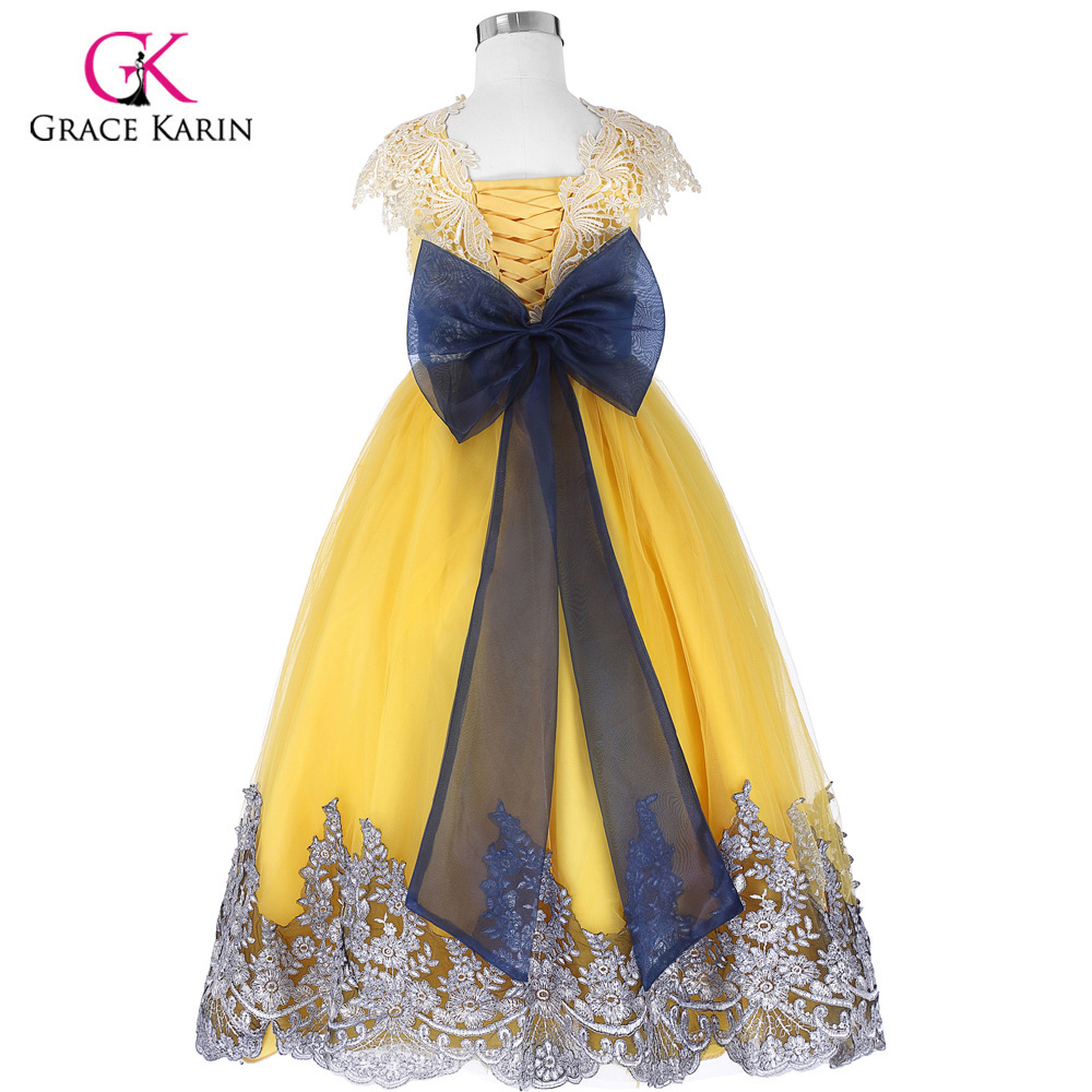 Big Bow Girls Dresses Pricess Ball Gown Yellow Flower Girl Dresses