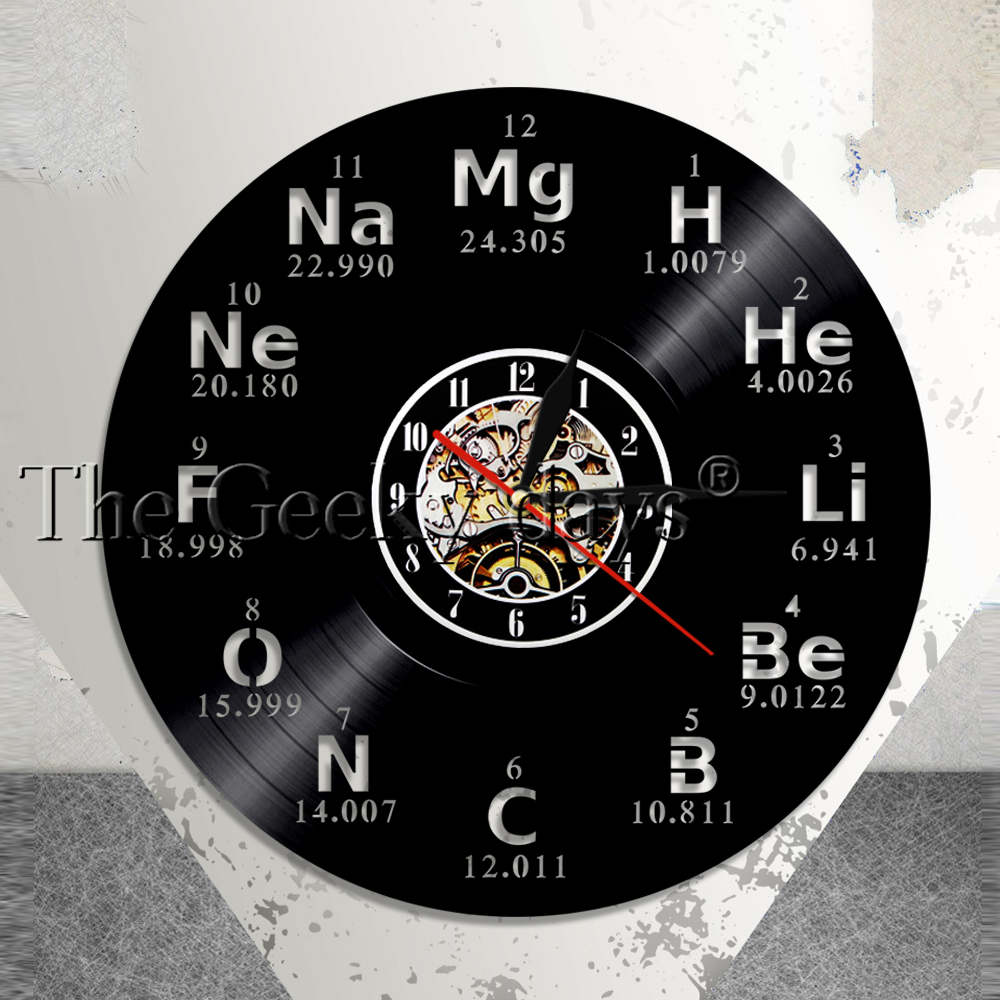 Chemical Elements Wall Clock Chemical Symbols Vinyl Record Clock Periodic Table Wall Art Teachers Gift Idea Modern Wall Clock