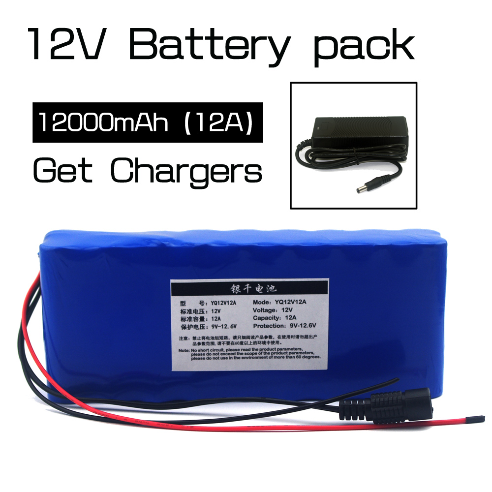 12v12ah Lithium Battery Monitors 12.6V 35W xenon lamp hunting battery medical equipment kit + 12V 3A battery charger