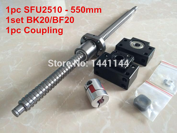 SFU2510- 550mm ballscrew + ball nut  with end machined + BK20/BF20 Support + 17*14mm Coupling CNC Parts sfu2510 1200mm ballscrew ball nut with end machined bk20 bf20 support